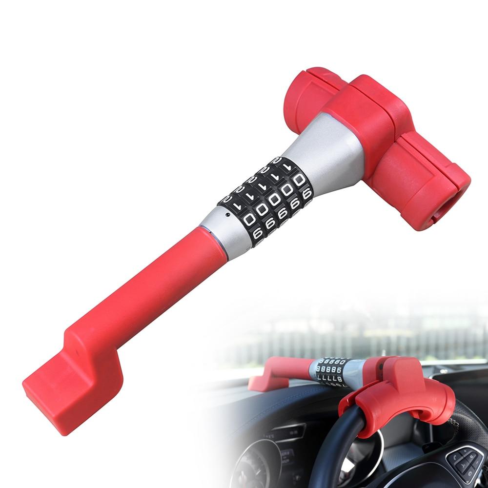 T Type 5 Coded Steering Wheel Lock Universal Anti Theft Locking Device Resetable Password Keyless Car Locks