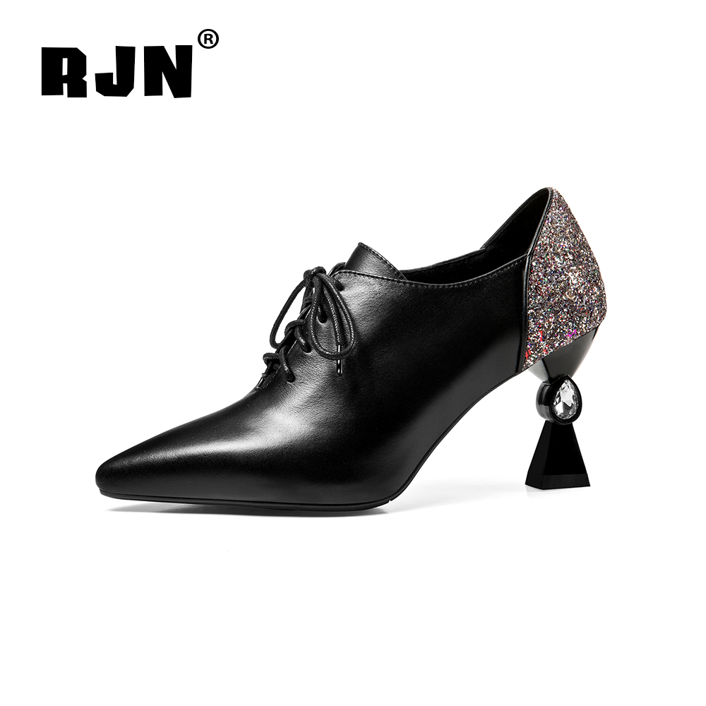 Buy RJN Fashion Women Pumps Back Bling Decoration Toe Unique Strange Style Heel Sexy Pointed Lace-up Shoes Lady Pumps For Work RO61