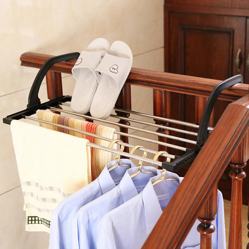 Folding Telescopic Balcony Drying Shoe Rack Multiple Hook Adjustment Clothes Rack Outdoor Storage Rack For Underwear Shoes Socks