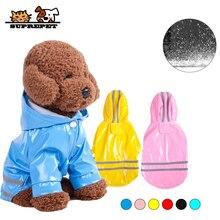 SUPREPET 1PC 5-color Pet Dog Raincoat S~XL Hooded Jacket PU Reflective Puppy Clothes Supplies