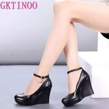 Fashion Ankle Strap High Wedges Platform Pumps For Women Casual Genuine Leather Black Work Shoes High Heels gold silver genuine leather thin high heels platform buckle strap sandals fashion party shoes women