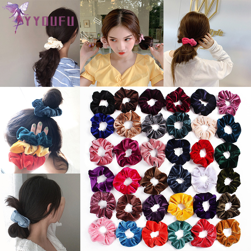 YYOUFU 36 Colors Velvet Scrunchie Women Girls Elastic Hair Rubber Bands Accessories Hair Ring Rope Ponytail Holder Headdress