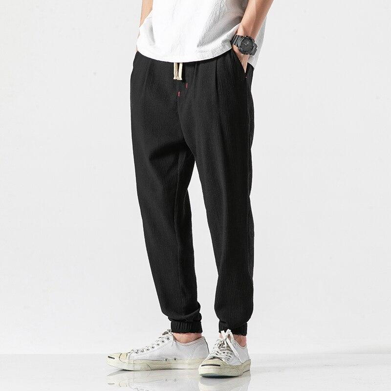 Cotton Linen Men's Pants Streetwear Joggers Pants Men Fashion 2020 Spring Summer Solid Harem Pants Men Large Size 5XL