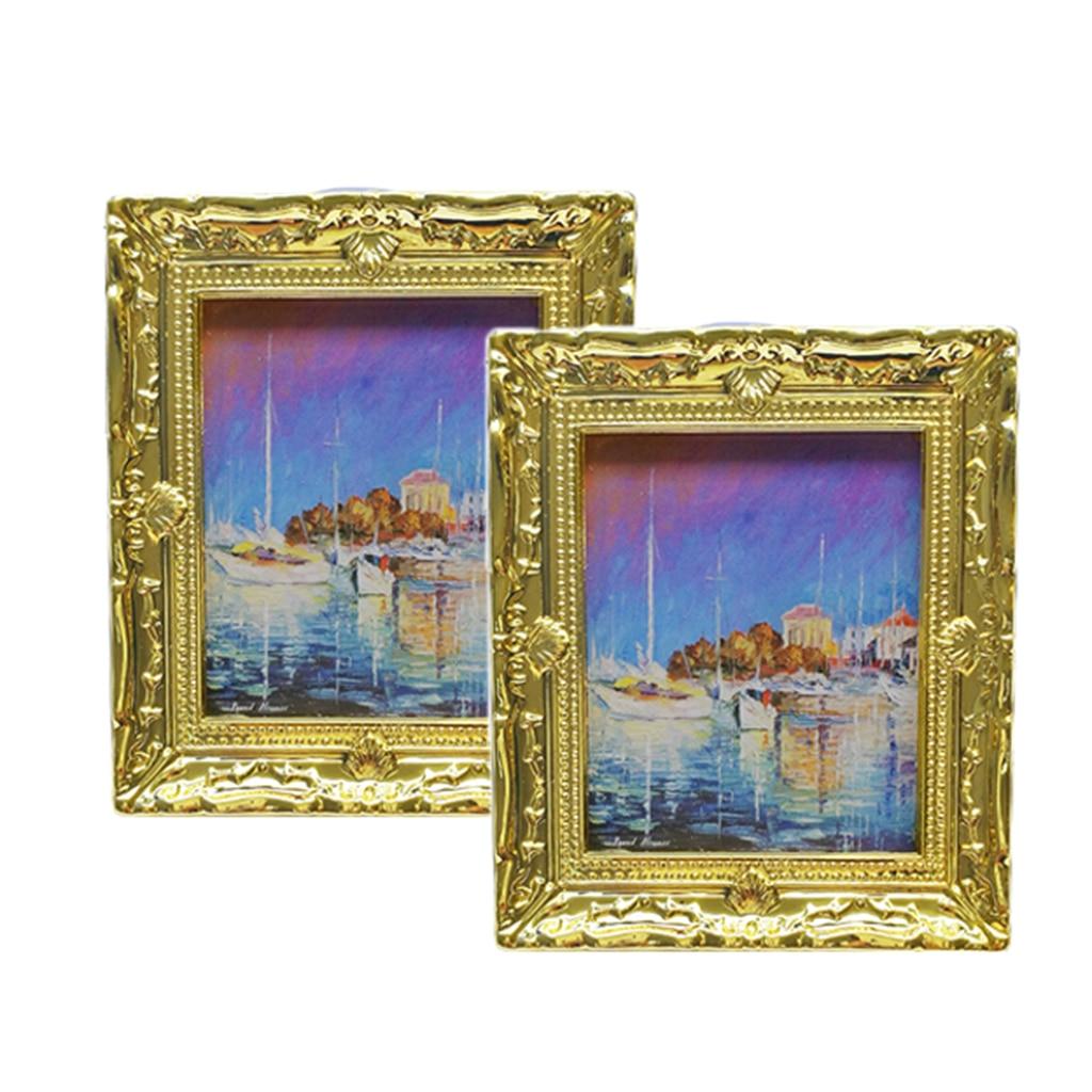 2PCS 1:12 Dollhouse Miniature Art Picture Photo Painting Frame Home Decoration