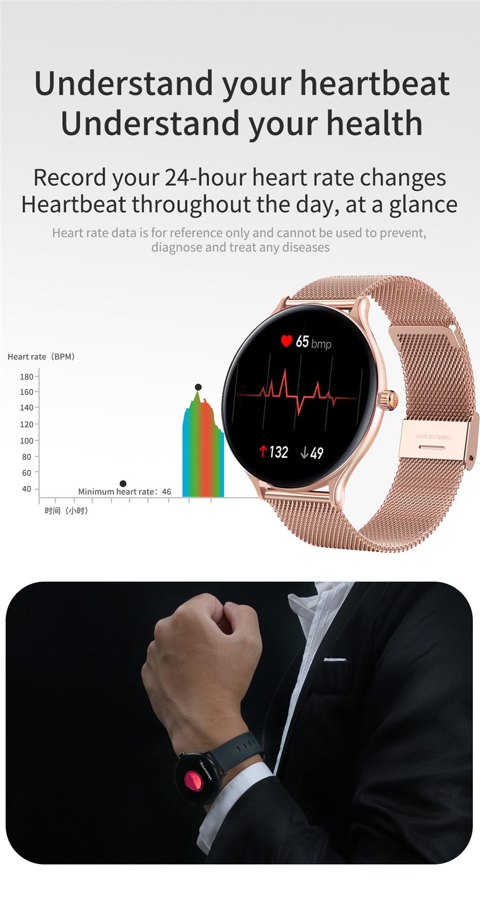 H1fa1763d1d7a4568b7b9798077122a49J 2021 New Full circle touch screen Women smart watch Luxury steel Watch Band Fashion smartwatch Sport Activity tracker For Xiaomi