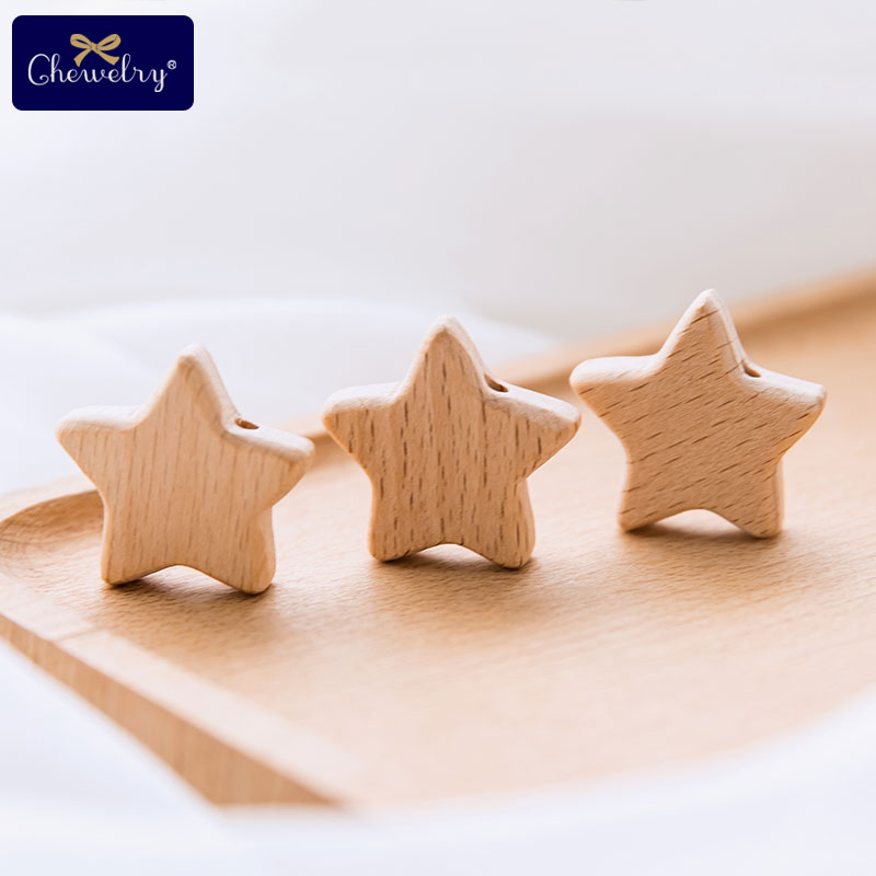 25mm 50pc Baby Wooden Teether Beads With Holes Beech Wooden Five-Pointed Star Beads DIY Nursing Necklace Bracelet Children Goods