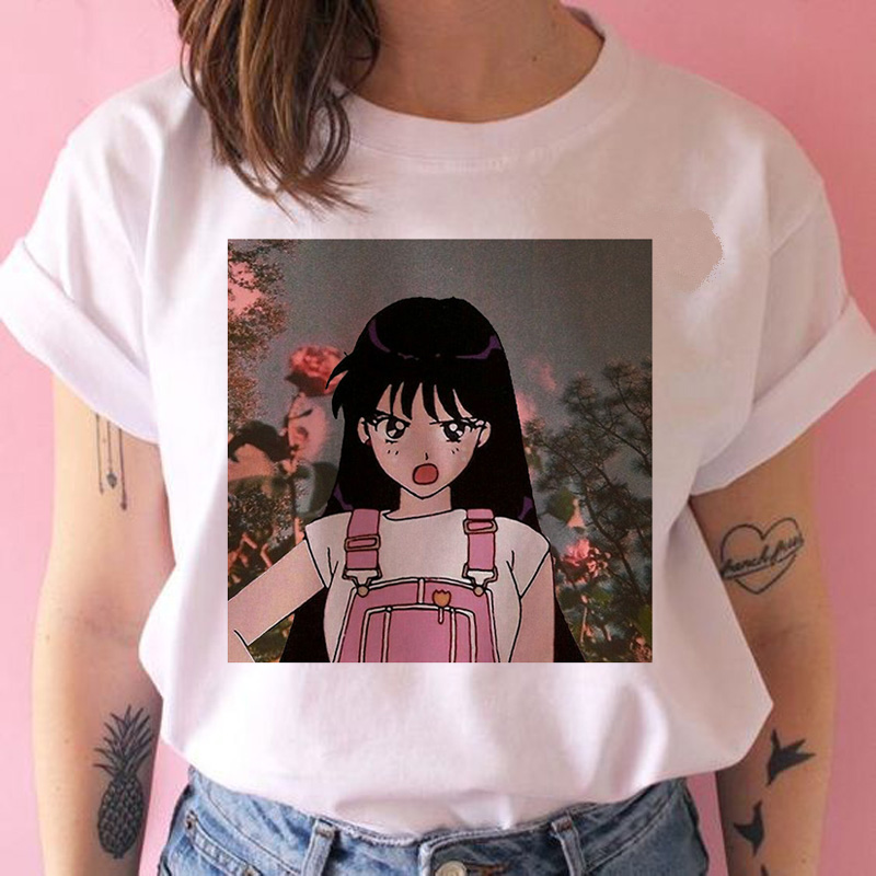 Sailor Moon T Shirts Women Graphic Ulzzang Harajuku Casual Tshirt Female Ulzzang Japanese Kawaii T-shirt Top Tee Funny