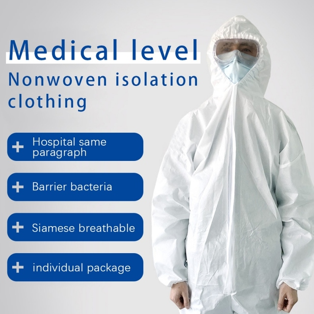 PPE Suit Disposable Isolation Gowns Non Woven Dustproof Onesie Protective Clothing Disposable  Garment Protective Clothing 5