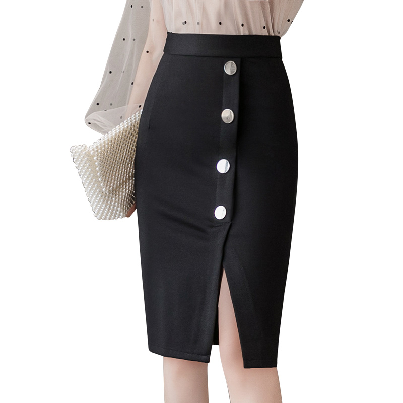 Office Lady Buttons Package Hip Skirts Korean Style Spring Autumn Women High Waist Split Knitted Skirts Black,Red