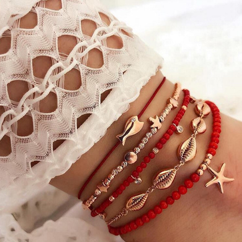 docona 5pcs Boho Shell Red Beaded Anklet Set for Women Multilayer Starfish Crystal Pendant Foot Chains Ladies Beach Jewelry 8801