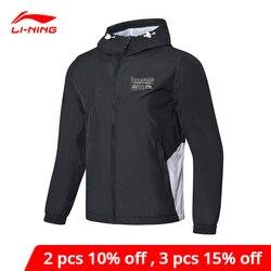 Мужская ветровка Li-Ning, трендовая куртка из полиэстера с подкладкой, Спортивная ветровка с капюшоном, пальто AFDP037 MWF384