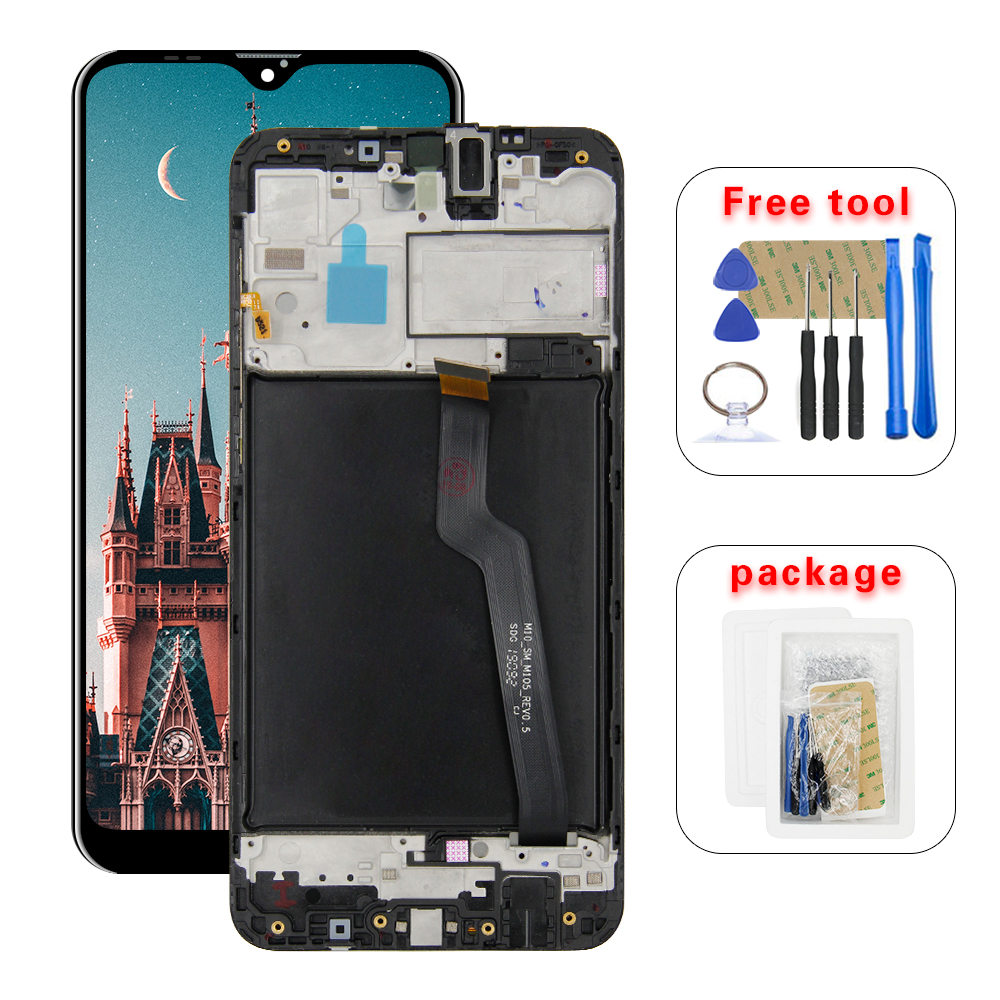 For Samsung Galaxy A10 A105 A105M SM-A105F LCD Display With Touch Screen Digitizer With Frame image