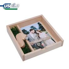 Photo Album Usb + Box Wooden USB 3.0 U Disk Flash Drive Pendrive 4GB 8GB 16GB 32GB 64GB for Photography Wedding Gift(Free Logo)