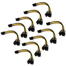 10 pces 8 pinos pci express para dupla pcie 8 (6 + 2) pino cabo de alimentação 21cm placa gráfica placa gráfica pci-e gpu cabo de dados de alimentação divisor