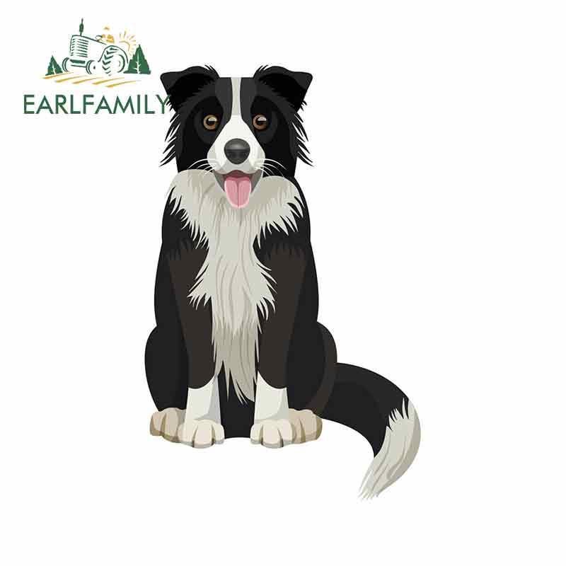 EARLFAMILY 13cm X 8.2cm Cute Border Collie Vinyl Stickers Pet Dog Puppy Laptop Cartoon Car Sticker Graphic
