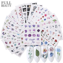 1Set Watercolor Xmas Flower Sticker Nail Decal Set Flamingo Letter Design Gel Manicure Decor Water Slider Foil CHSTZ683 706 1