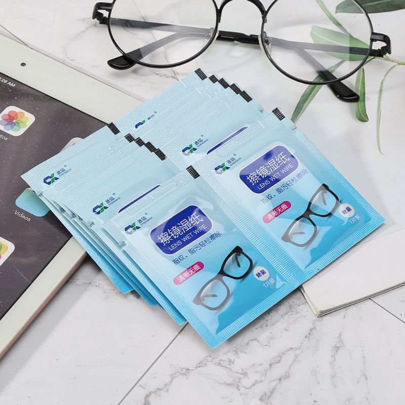 1 Box Glasses Cleaner Wet Wipes Cleaning Lens Disposable Anti Fog Misting Dust Remover Sunglasses Phone Screen Computer Portable image