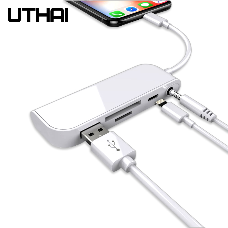 UTHAI C16 Multi In 1 Card Reader Lightning To SD USB Adapter For Iphone 8 X 11 Usb3.0 Converter TF CF SD Card Reading All In 1