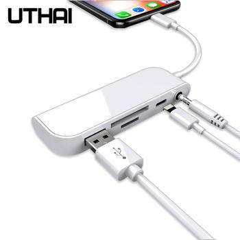 UTHAI C16 Multi w 1 czytnik kart błyskawica na SD Adapter USB dla iphone 8X11 usb3 0 konwerter TF CF czytnik kart SD wszystko w 1 tanie i dobre opinie Zewnętrzny All in 1 multi w 1 Karta sd Karta cf Micro SD Karty tf LIGHTNING TF SD CF USB 3 5mmAudio