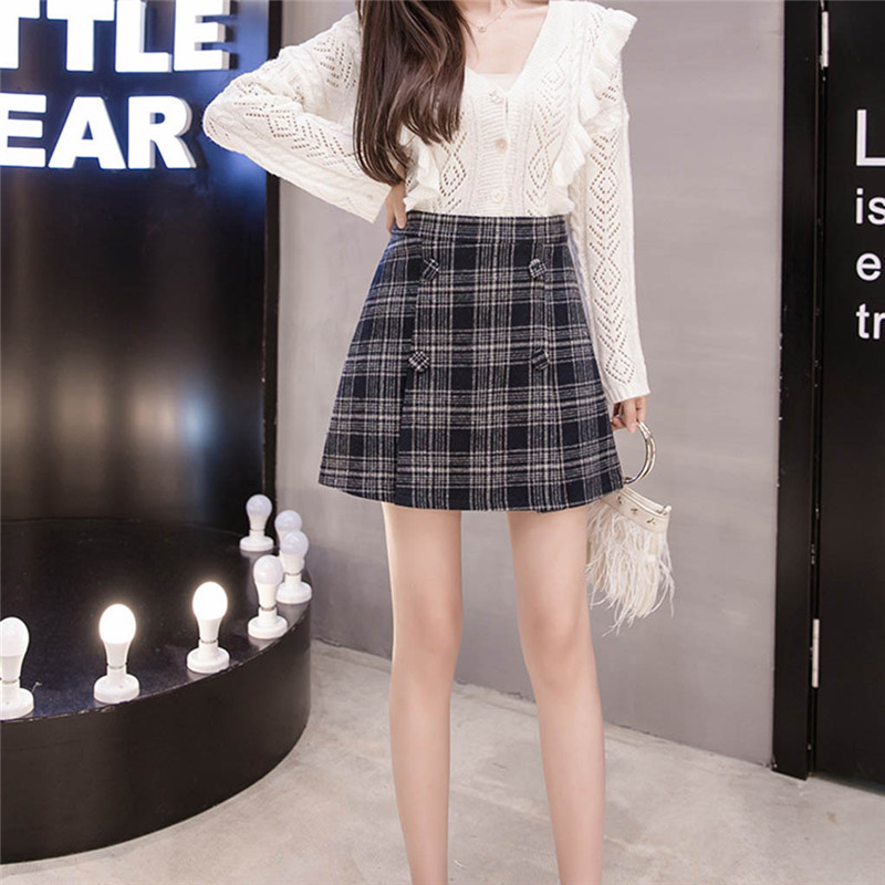 Women's Fashion High Waist Button Decoration Pleated Mini Skirt Slim Waist Casual Irregular Bag Hip A-line Skirt Skirts 2020 @D