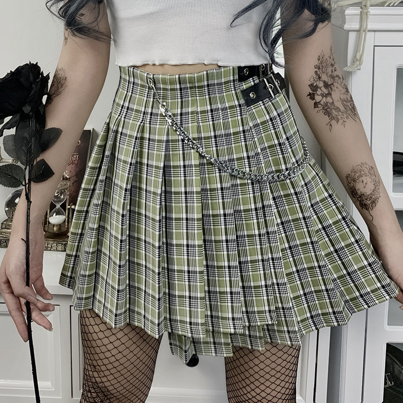 Harajuku Green Plaid Skirt Women Punk Goth Preppy High Waist With Chain Mini Skirts Streetwear Grunge Korean Pleated Skirt Girls
