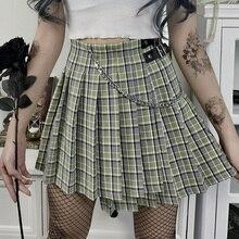 Harajuku Green Plaid Women Punk Goth Preppy High Waist with Chain Mini Streetwear Grunge Korean Pleated Girls