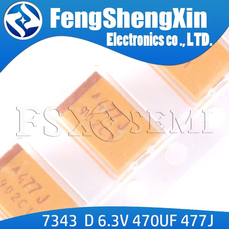 10pcs D 7343  6.3V 470UF 477J TAJD477K006RNJ SMT Tantalum Capacitor SMD Tantalum Electrolytic Capacitor