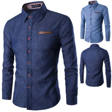 Spring and Autumn Men's Casual Shirt Pocket with L