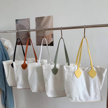 2020 New Middle Women Bags Korean Canvas Cotton Female Handbags Shoulder Bag Ladies Casual PU Leather Tote