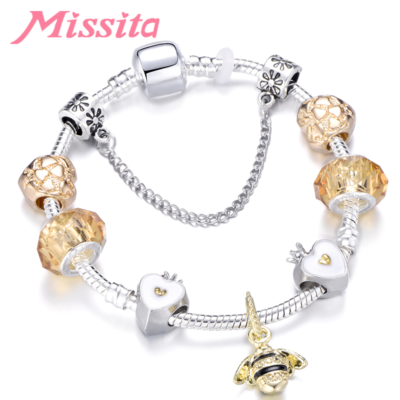 MISSITA Romantic Golden Bee Pendant Bracelet for Women Silver Jewelry Clear Murano Beads Brand Anniversary Gift Hot Sale