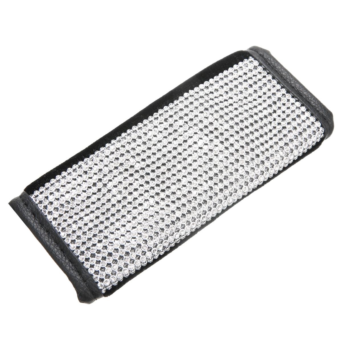 1PC Durable PU Leather Car Bling Handbrake Hand Brake Decor Cover Black Rhinestone Crystal Interior Trim Parts Accessories