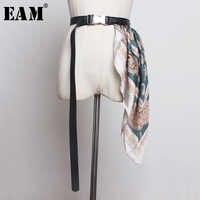 [Eam] couro do plutônio ajustar lenço de seda cinto longo acessórios personalidade feminina nova moda maré all-match outono inverno 2020 1b011