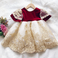 Baby Girl Dress Retro Palace Kids Clothes with Big Bow Toddler Wedding Party Princess Tutu Lace Frock for Children 1 8Year CL206