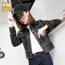 Womenwear Spring 2020 New Genuine Leather Jackets Woman Rivet Motorcycle Fashion Jaqueta Zipper Personalized Pockets Veste Femme(China)