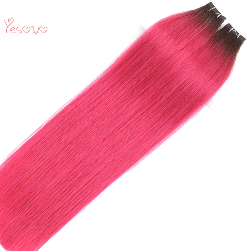 Yesowo Silky Straight Brazilian Remy Hair Tape In Skin Hair 2.5g/piece 12-26Inch High Quality Ombre Extension Human Hair