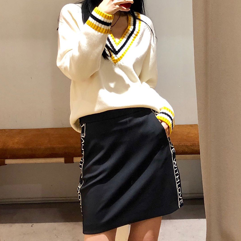 2019 Spring Summer New Letters Women's Mini Skirt Sporty Style Short Skirts Casual Clothes Black