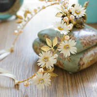 Beautiful Women Flower Headband With Ribbon Wreath Ladies Girls Garlands Floral Crown Hairband For Bride Weddings Party Hair Acc
