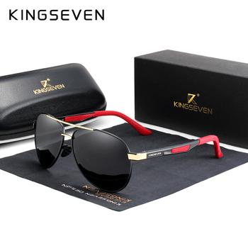 KINGSEVEN marka męska Vintage Square okulary spolaryzowane UV400 obiektyw akcesoria do okularów męskie okulary dla mężczyzn Zonnebril 7720 tanie i dobre opinie Pilot Dla dorosłych Aluminium Lustro Antyrefleksyjną 49mm Polaroid N7720 59mm KINGSEVEN exclusive Patented Design 100 Polarized With Test card