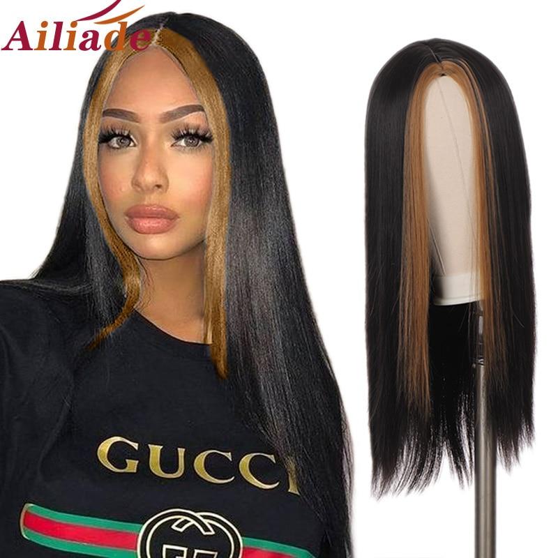 Длинный прямой черный парик с челкой смешанные цвета синтетические парики для женщин натуральный парик средней части термостойкий косплей...