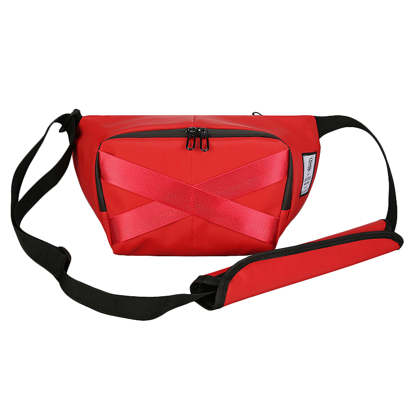 Waist Bag Unisex Belt Bags Chest Pack Large Capacity Street Hip Hop Packs Crossbody Bag Female Solid Color Banana Pack Red