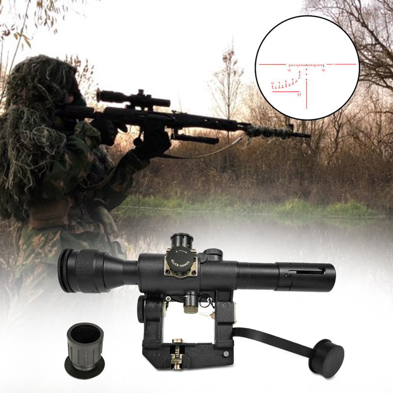 4x26 Red Illuminated Rifle Scope Sight For SVD Dragunov For Tactical Hunting Shooting HT6-0012