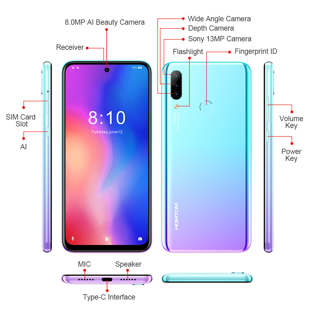 Image 4 - HOMTOM P30 pro Android 9.0 4G Mobile Phone MT6763 Octa Core 4GB 64GB 4000mAh 6.41 inch Face ID 13MP+ Triple Cameras Smartphone-in Cellphones from Cellphones & Telecommunications
