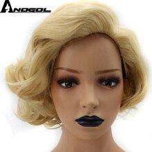 Anogol高温繊維中部ナチュラルロング波状ピンクオンブルダーク根合成かつら白人女性のための