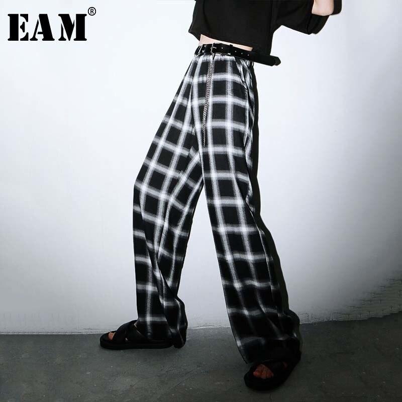 [EAM] High Elastic Waist Black Plaid Long Wide Leg Trousers New Loose Fit Pants Women Fashion Tide Spring Summer 2020 1W227