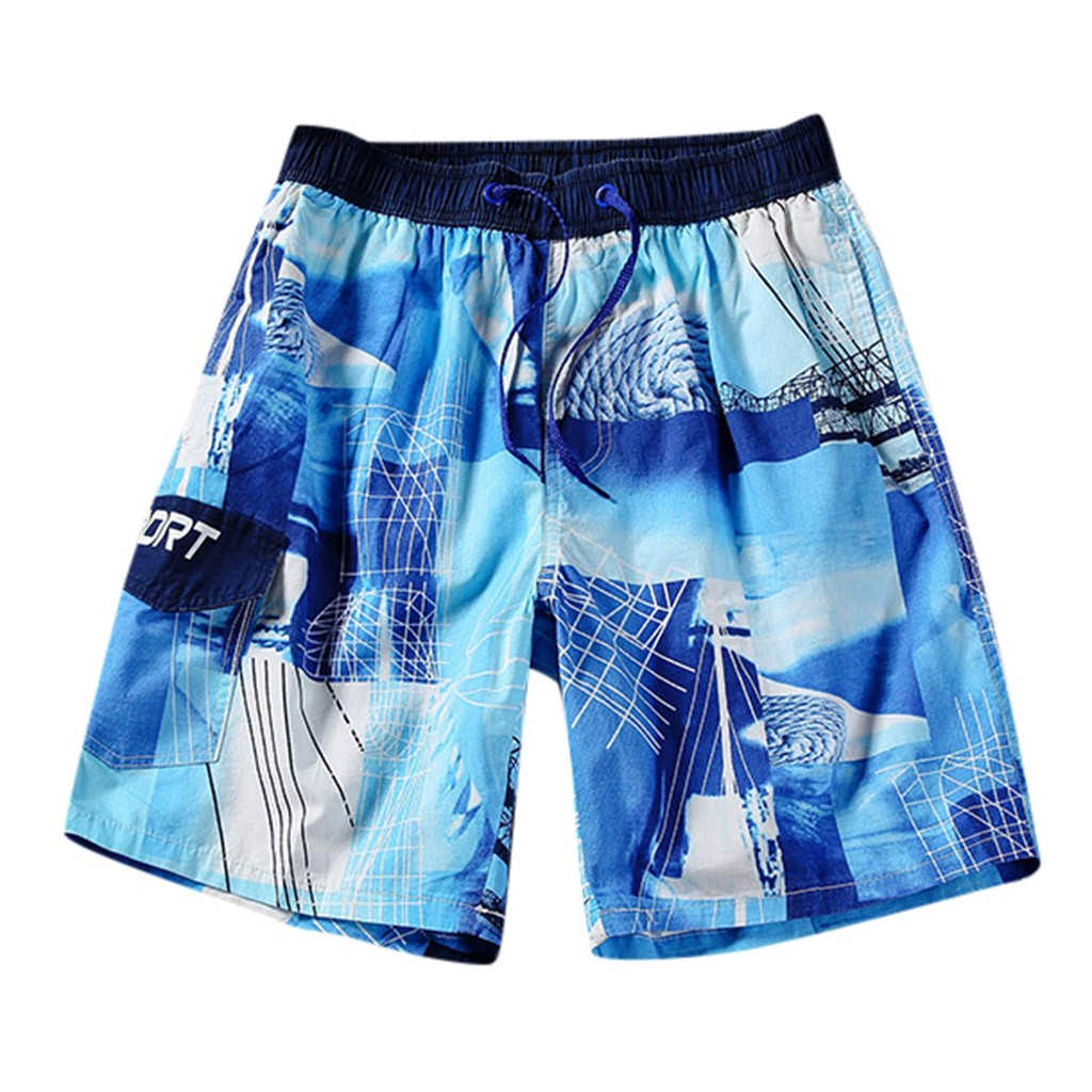 Men Casual Classic Fit Drawstring Summer Beach Shorts with Pockets