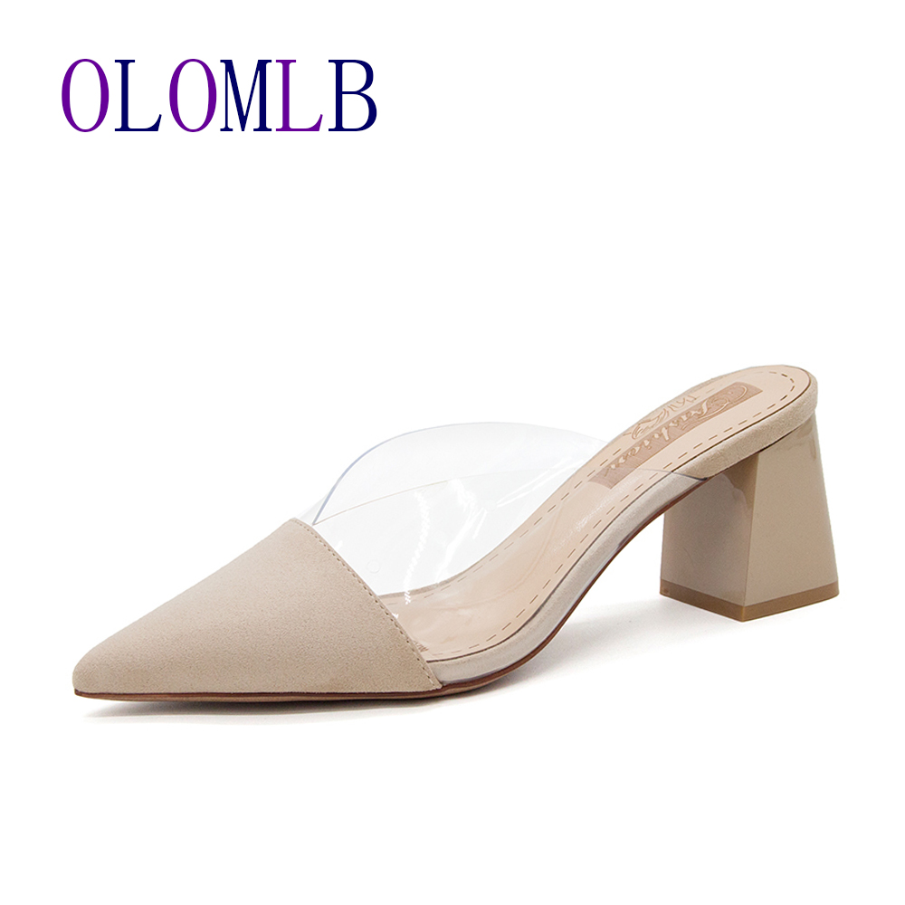 Pointed Toe Suede Square Heel High Heels Muller Slippers Women 2020 Summer Shoes Women Fashion Patchwork Shallow Ladies Shoes