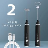 Mezclador de café eléctrico, batidor de leche recargable, vaporizador, batidor de huevos con carga USB, de mano, batidora ajustable de 3 velocidades