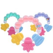 1 sztuk zabawki grzechotki dla dzieci noworodka grzechotki dla dzieci gryzak zęby gryzienie niemowląt łóżko dla małego dziecka dzwon silikonowy Handbell Jingle Cartoon