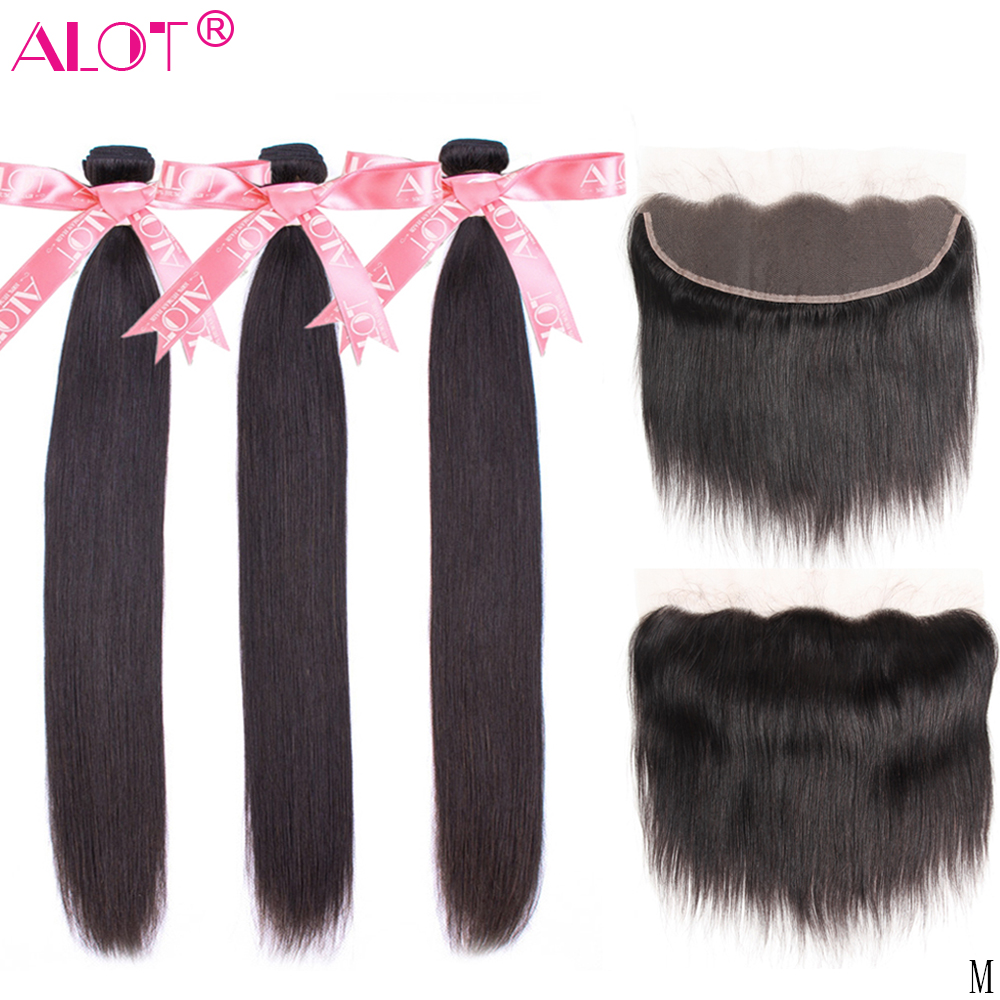 13x4 Lace Frontal Closure With Bundles Brazilian Straight Hair With Ear To Ear Frontal Non-Remy Human Hair Weave With Closure