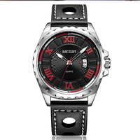 MEGIR Men's' watch fashion sports waterproof calendar luminous leather belt men watch 1019